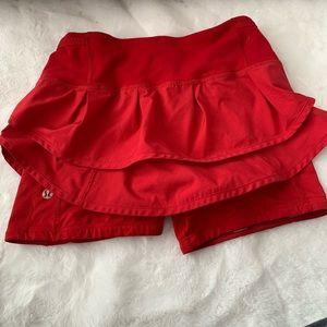 Lululemon red speed squad skirt/skort